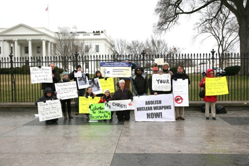 Pax Christi Metro-DC-Baltimore members vigil outside the White House in support of Article 9. (Photo by Ted Majdosz)