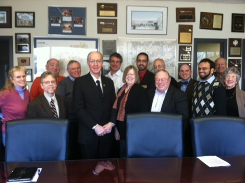 A Pax Christi Illinois organized delegation to visit Congressman Bill Foster (front row, 3rd from the left) to urge support for comprehensive immigration reform. Pax Christi members include Tom Garlitz (front row, 2nd from the left), Steve Jackson (front row, third from the right), Eleanor Wegman (front row, far right) and Tom Cordaro (second row, 3rd from the right).