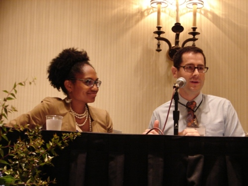Adrienne Alexander and Patrick Cashio address participants at the National Conference on June 15.