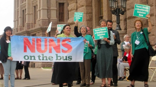 Pax Christi Texas members join with the Nuns on the Bus.