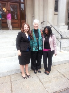 Sr. Anne-Louise Nadeau, Program Director for PCUSA (center) with 2 students from Trinity University in DC,  Minette Achankeng and Corinne Helwig