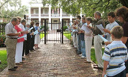 Pax Christi Tallahassee members gather in front of the Florida Governor's mansion to pray during an execution.