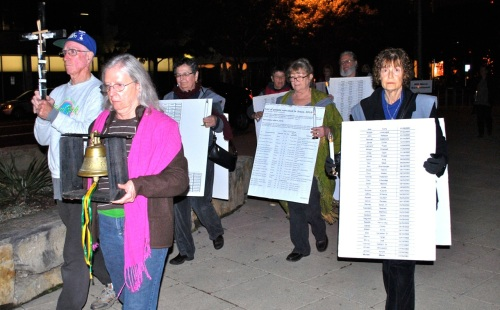 "Pax Christi Austin (TX) members march against the death penalty as part of ""Cities for Life"" in November. Photo by Bob Kinney"