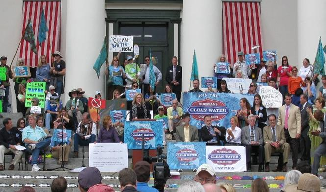 PCF Council Members, Carol Ann and Lee Breyer (right of podium) at Clean Water Rally at Florida State Capitol. (photo courtesy of PCF).