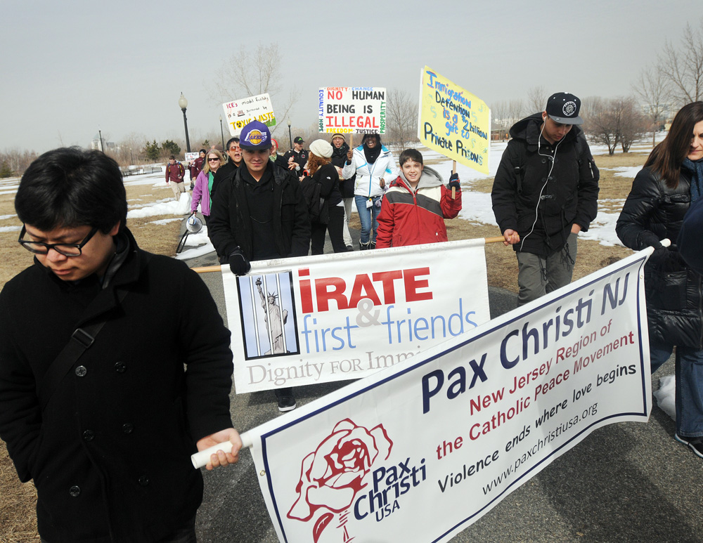 Pax Christi New Jersey members protesting deportations. (photo courtesy of NorthJersey.com)