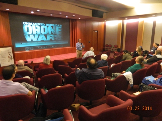 Director Robert Greenwald speaks to Pax Christi SoCal members before a showing of his new film, Unmanned: America's Drone Wars