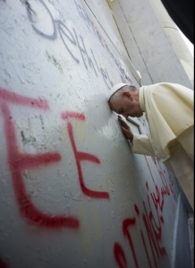 Pope Francis at the apartheid wall between Israel and the Palestinian territories