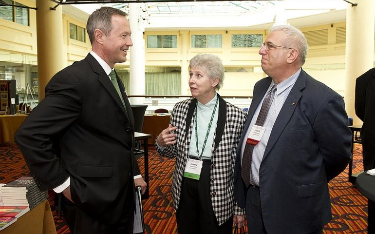 From left: Maryland Gov. Martin O'Malley; Sr. Jeannine Gramick, co-founder of New Ways Ministry; and Francis DeBernardo. (Photo Credit: NCR)