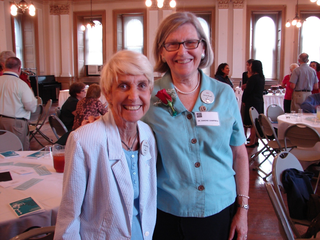 Carol Ann Breyer, former state coordinator of Pax Christi Florida (left) with Sr. Simone Campbell. Carol Ann passed away  earlier this month.