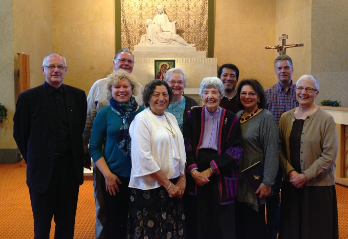 L-R, front row: Cheryl Morrissey, Madeline Labriola, Mary McDonald, Abigail Abyshai Metzger, Marie Dennis; Back row: Rev. Paul Lansu, Patrick Ryan, Beth Begley, Jose Henriquez, Matthew Marquardt.