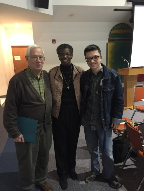 Pax Christi Texas leader David Atwood; workshop presenter Sr. Patty Chappell, SNDdeN; and workshop participant Jerry Maynard at the We Grow Together workshop in Houston.