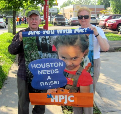 "Pax Christi Texas members Sr. Ceil Roeger and Dave Atwood participate in ""Fight for $15 Rally"" in Houston."