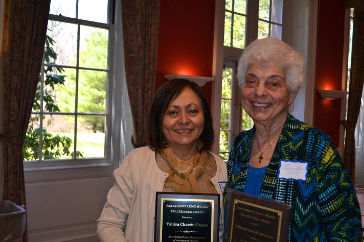 Accepting PC-LI awards are Mercy Sister Camille D'Arienzo (L), on behalf of NCR Editor Dennis Coday and Yanira Chacón-Lopez, lay minister of St. Bridget Church in Westbury, NY.