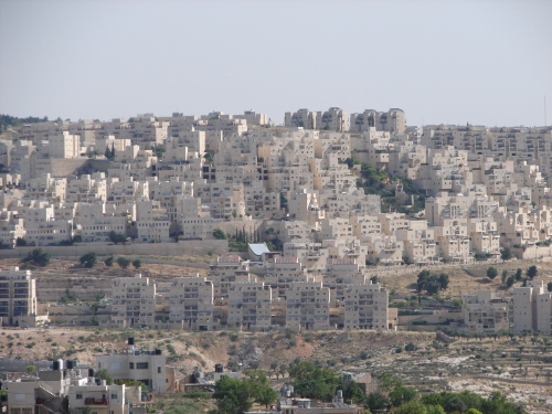 Recently constructed Israeli settlement in the Occupied West Bank.