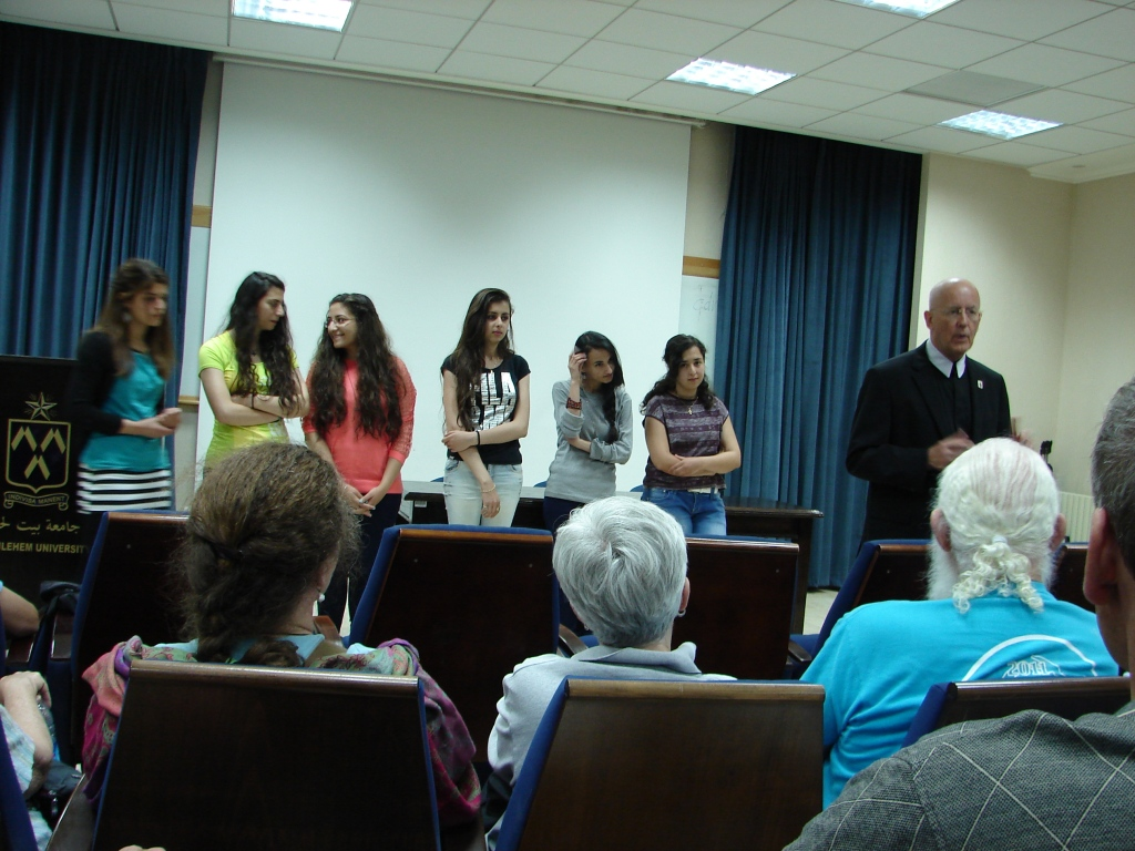 Vice President Bray and students from Bethlehem University engage the delegation on their hopes for Palestine and challenges living in the Occupied Territories.