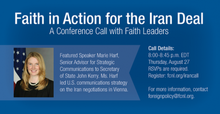 Conference Call on Iran Deal, Aug 26 at 8pm EDT