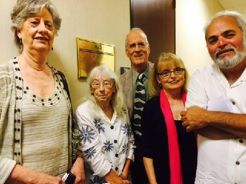 Visiting Texas Senator Cornyn's office in Dallas on the Iran deal are Joyce Hall, Pax Christi Dallas; Mavis Belisle, Nuclear Free World Committee; Bill Maxwell, Dallas Peace and Justice Center; Leslie Harris, CodePink, and Hadi Jawad, Middle East Peace Committee.