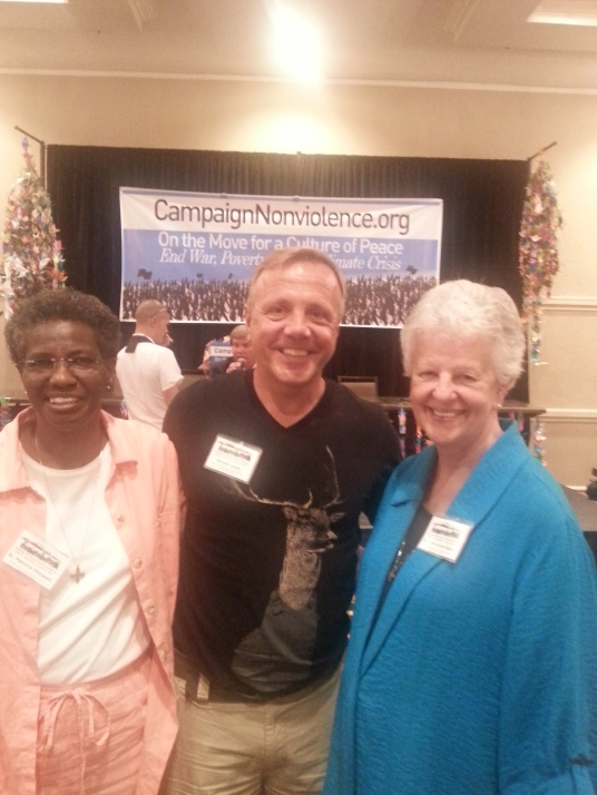 Sr. Patty Chappell, PCUSA ED; PCUSA Treasurer Don Levan; & Sr. Anne-Louise Nadeau, Program Director at Campaign Nonviolence conference in NM.