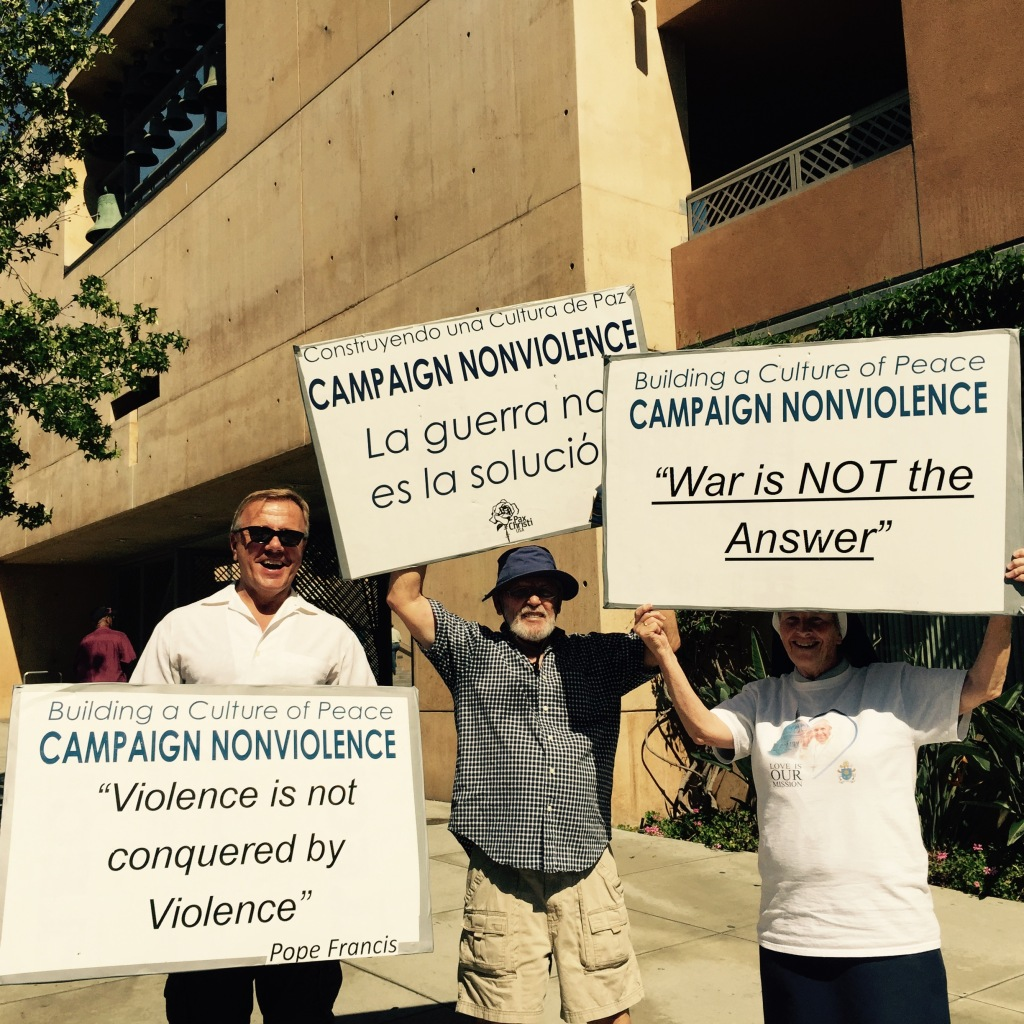Prayer vigil at the Cathedral in Los Angeles as the closing event of Campaign for Nonviolence and Pax Christi Los Angeles and Pax Christi Southern California's support of Pope Francis's call for end to nuclear weapons.