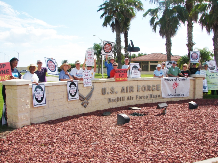 Pax Christi Florida held their state assembly in Tampa and protested drone warfare outside MacDill Air Force Base as a kick-off action for the Campaign Nonviolence Week of Actions.