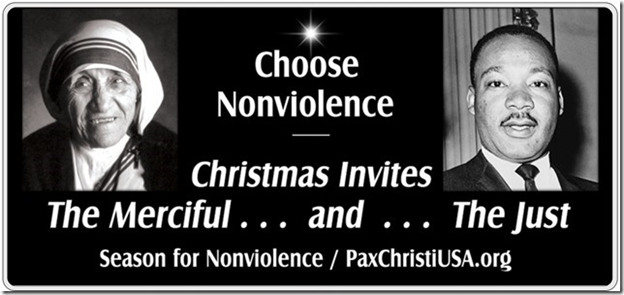 This is the fourth year Blue Water PC has put up this billboard to promote peace, charity, and prayerful nonviolence. Councils of local Knights of Columbus and many local church and community members have been supportive. The billboard appears above the Chamber of Commerce building for one month beginning Dec. 23.