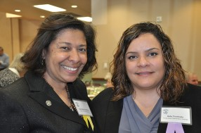 Ana Garcia-Ashley, National Director of the Gamaliel Network, with Aida Cuadrado, recipient of the Young Adult Peacemaker Award.