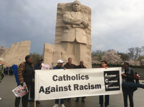 Stopped at the MLK memorial during the silent march to the national mall, April 4, 2018